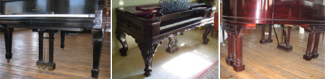 How many legs does the grand piano have?